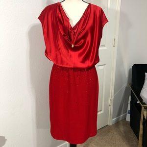 ST. JOHN Cowl Neck Embellished Dress Red 10